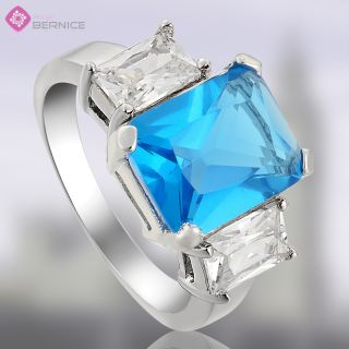 Wedding Jewelry Blue Topaz Aquamarine White Gold Plated Cocktail Ring