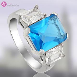 Wedding Jewelry Blue Topaz Aquamarine White Gold Plated Cocktail Ring
