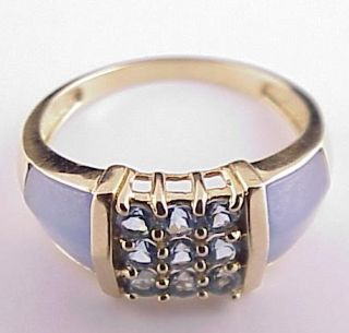 14k Yellow Gold Ring Topaz Blue Chalcedony Size 9 3 4