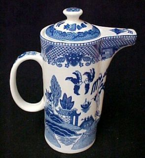 Blue Willow Porcelain China Water Jug Pitcher w Lid New