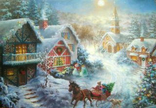 Nicky Boehme Village Church Scene Horse Sleigh Christmas Greeting Card