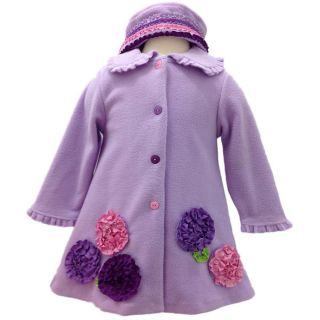 Bonnie Jean Baby Girls Fleece Fall Winter Holiday Coat Dress Outfit 12