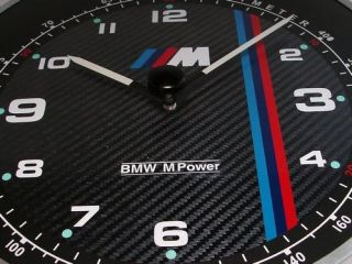 BMW M Power Sports Car Wall Clock   11 inch Aluminum Metal Casing with