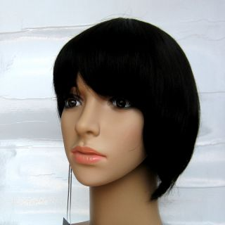 24 Off Black Asymmetric Bob Wig 100 Human Hair Wigs RGH2132 1B