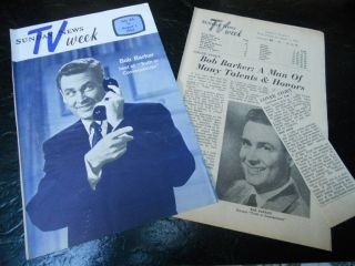 1964 BOB BARKER TV GUIDE ARTICLE CLIPPINGS MAN OF MANY TALENTS