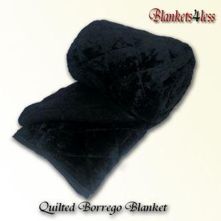 Black Quilted Sherpa Fur Borrego Blanket Cobija Reversible King Size