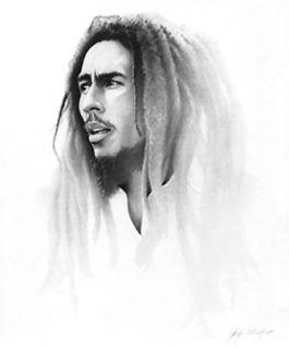 Bob Marley portrait by Gary Saderup black & white open ed paper print