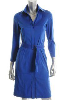 Hugo Boss New Blue 3 4 Sleeves Knee Length Belted Casual Dress 2 BHFO