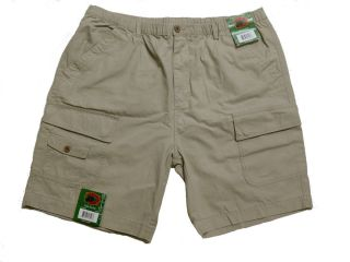 New Boston Traders Mens Cargo Shorts Flat Front Elastic Waist Khaki