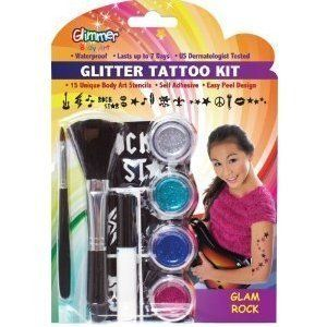 Glimmer Body Art Glitter Tattoo Tattoos Kit Glam Rock Star 15 Stencils