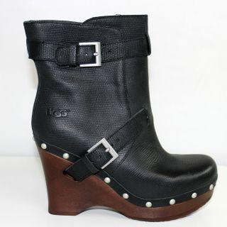 UGG Australia Taryn Clog Black Women Wedge Ankle Leather Boot 1001316