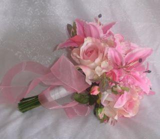 Stargazers Roses Bridal Handtied Bouquet Silk Wedding Flowers