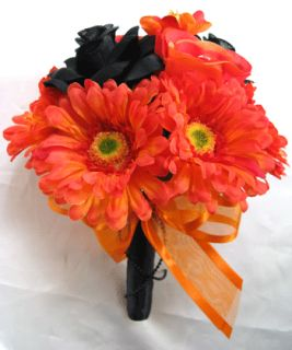 Wedding Bouquet Bridal Silk Flowers Decoration Black Orange Daisy Lily
