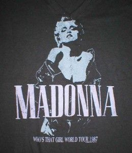 Madonna Brand New Whos That Girl 1987 Tour Tee Shirt Black V Neck Cap