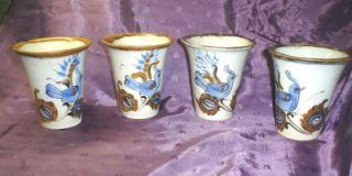 Vtg Ken Edwards Hand Painted Pottery Blue Birds Butterflies Drinking