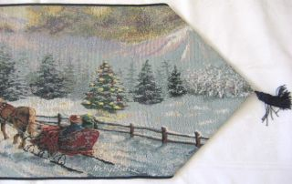 Nicky Boehme Winter Scene Cardinal Jacquard Woven Table Runner 72