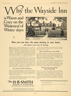 1926 Ad H B Smith Boilers Radiators Heating Wayside Inn   ORIGINAL