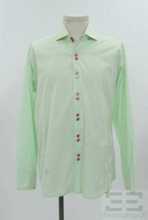 Bogosse Mens Green Pink Topstitched Cotton Button Front Shirt Size 5