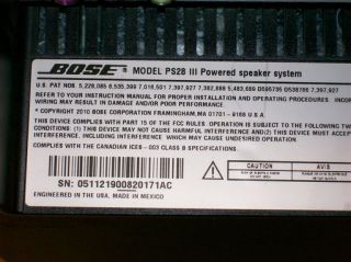 Bose PS28 III Powered Speaker System Subwoofer for T20 V25 V35 28 38