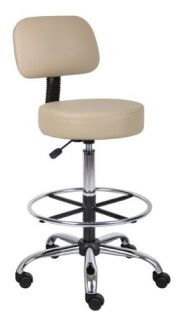 Boss B16245 BG Caressoft Medical Drafting Stool with Back Cushion