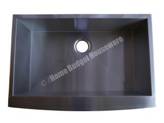 Stainless Steel Kitchen Single Bowl Sink Apron Farmhouse Curved Edge