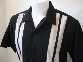 Rockabilly 3XLT Black Tan Panels Bowling Shirt 2Tone Rock Roll