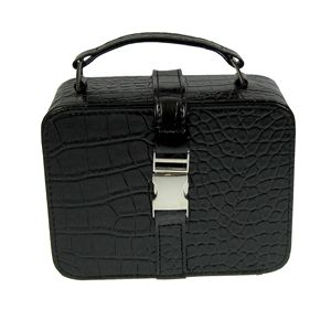 Case Croc Embossed Simulated Leather Black Box Travel New