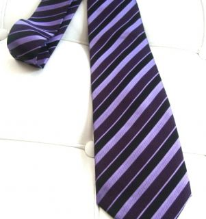 Purple Stripes Bow Tie Necktie Wedding Mens Neckwear Cravatte Cravat