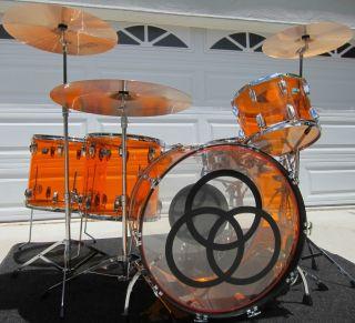 LUDWIG AMBER VISTALITE JOHN BONHAM ZEP SET Drumset w/ SNARE DRUM LED