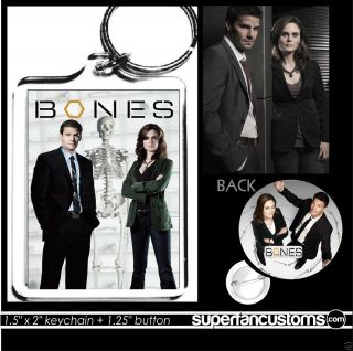 Bones KEYCHAIN + BUTTON pin key ring tv show David Boreanaz Emily