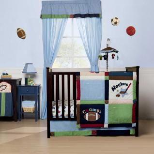 , Hockey and Basketball Baby Boys Nursery Crib 5pc Sports Bedding Set
