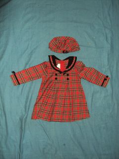 BONNIE BABY Red Plaid Christmas Dress with HAT Size 24 Months 2T