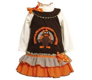Bonnie Jean Girls Turkey Flounced Corduroy Fall Thanksgiving Jumper