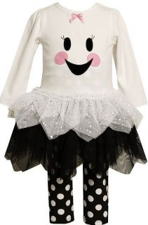 Bonnie Jean Girls Smiling Ghost Halloween Tutu Dress Outfit Leggings