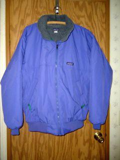 Vintage LN Mens Patagonia Purple Nylon Fleece Lined Zip Front Jacket