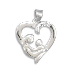 sterling silver 22mm x 16mm mother and child heart pendant with 1mm