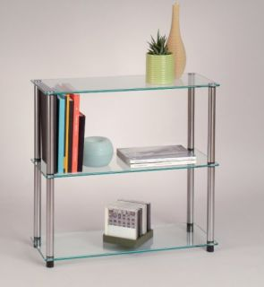 accsense modern glass 3 shelf bookcase rack stand new great