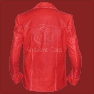 Brad Pitt's Vintage Fight Club Red Genuine Leather Jacket Coat Tyler