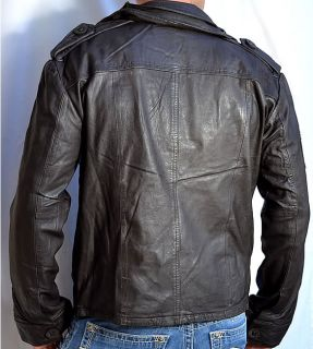 SUPERDRY Brad Mens Leather Motorcycle Jacket Beckham New Dark Brown
