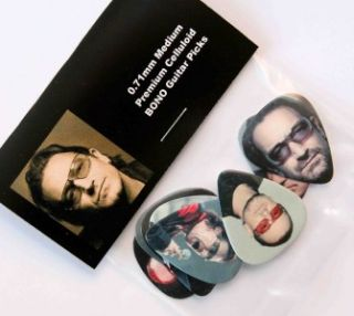 bono u2 set of 8 full colour guitar picks plectrums