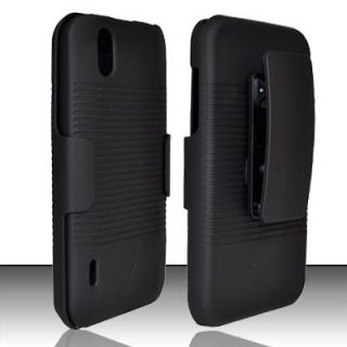 Boost Mobile LG Marquee LS855 Ignite Black Hard Case Belt Clip Holster