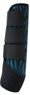Pair of Perforated Neoprene Horse Sport Boots w Teal Black Zebra Print
