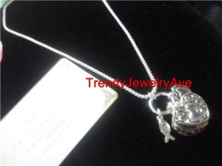 Silver Plated Serenity Prayer Heart Box Christian Fish Pendant