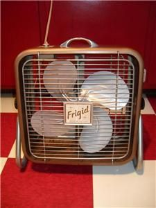Vintage Frigid Box Fan w Stand 13 in Works VGC 2 Offs