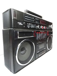 EM 9484 BOOMBOX PORTABLE STEREO CASSETTE TAPE PLAYER RADIO MIC IPOD