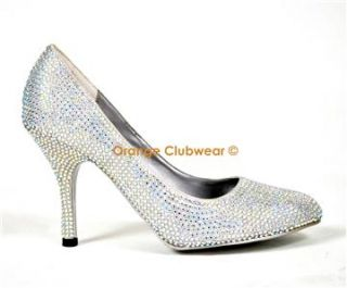 Bordello Rhinestone Prom Evening Pumps High Heels Shoes