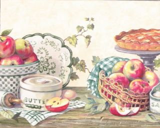 Country Kitchen Grannys Apple Pie Berautiful Wallpaper Border Wall