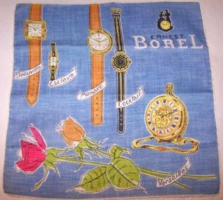 Ernest Borel Watches Vintage Hankerchief Blue Cotton Mint Condition