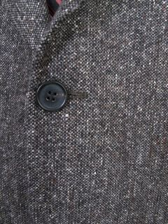 Hugo Boss Tweed Sport Coat Blazer Gray Black Einstein Italy Wool 48L