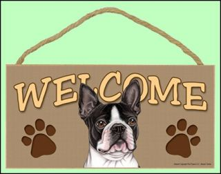 boston terrier dog 10 x 5 wooden welcome sign new